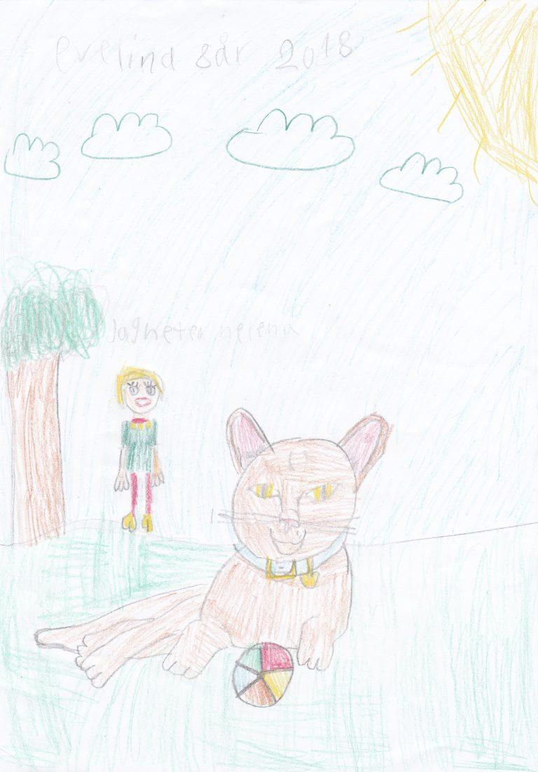 Helena med katt ritad av Evelina